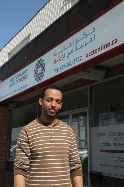 Victoria Park resident John Yohan in front of the local Arab Community Centre of Toronto, where he works. Photo credit: James Malekzadeh